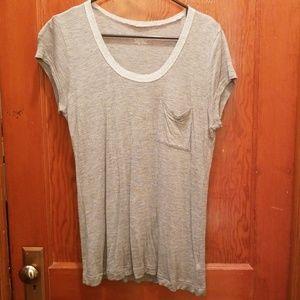 Silver detailed collar grey tshirt